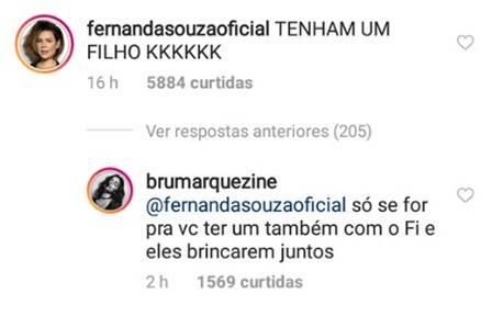 Confira a resposta bem humorada de Bruna Marquezine para Fernanda Souza sobre ter filhos