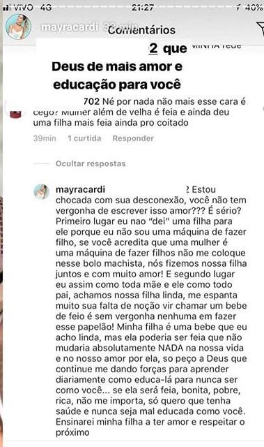 veja a resposta que Mayra Cardi para a internauta que xingou ela e sua filha
