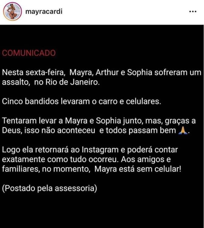 A assessoria de impressa da coach Mayra Cardi postou esse comunicado