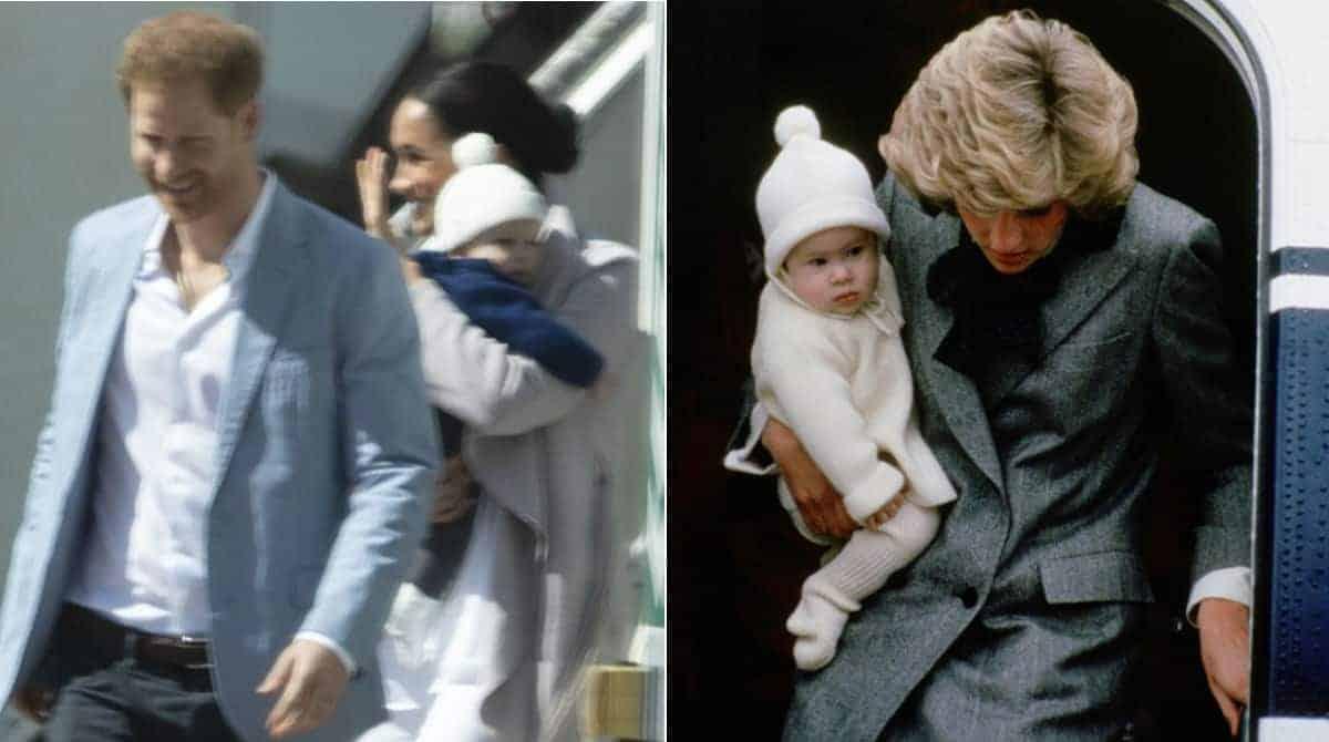 Meghan Markle com seu bebê Archie e a princesa Diana com Harry quando bebê