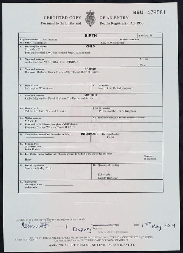 Certidão de nascimento do bebê da duquesa Meghan Markle e do príncipe Harry