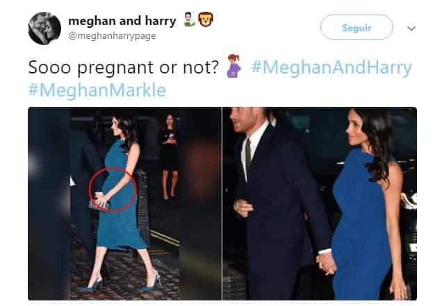 Publicação falando da suposta gravidez da duquesa Meghan Markle