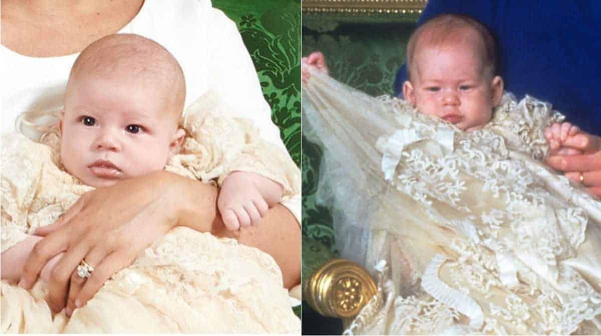 Archie, filho de Meghan Markle e Harry, e o príncipe Harry quando bebê