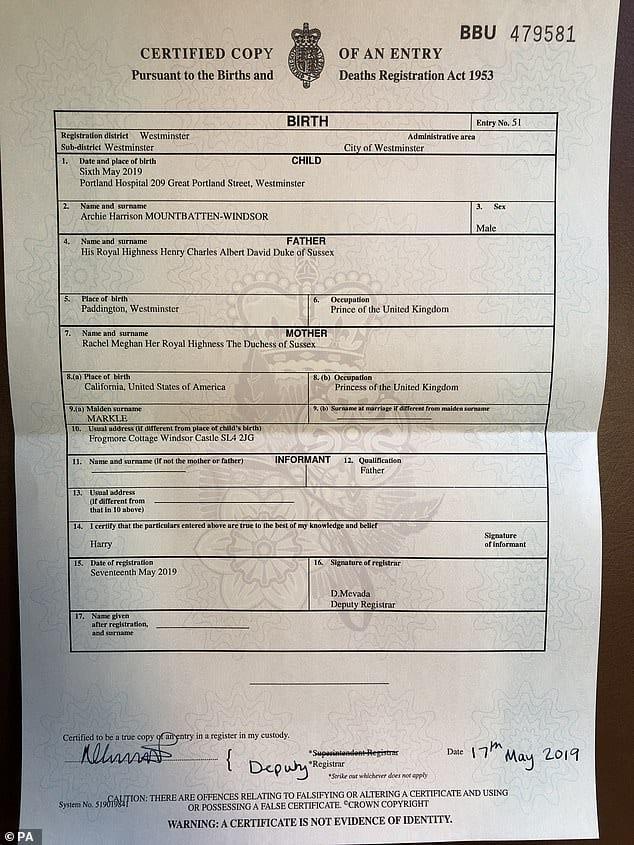 Certidão de nascimento de Archie, filho de Meghan Markle e Harry