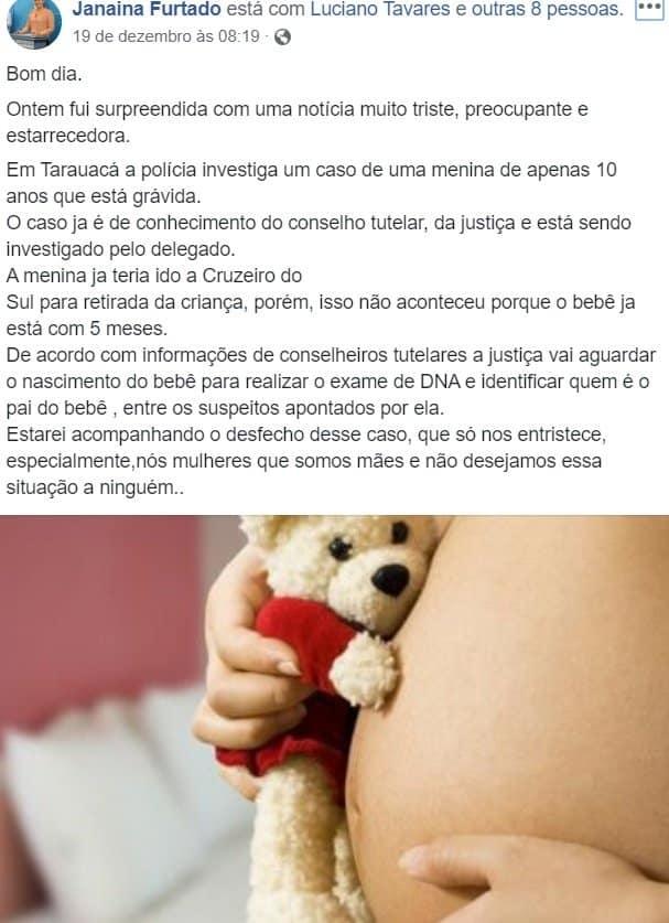 Menina de dez anos está grávida no Acre