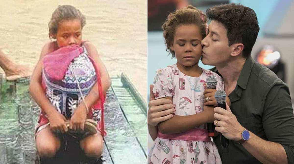 A menina salvou os livros na enchente