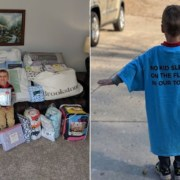 O menino ajudou a arrecadar mais de 125 peças de roupa de cama