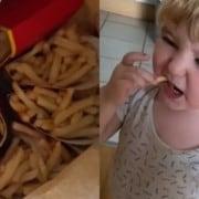O menino com as batatas fritas que encomendou
