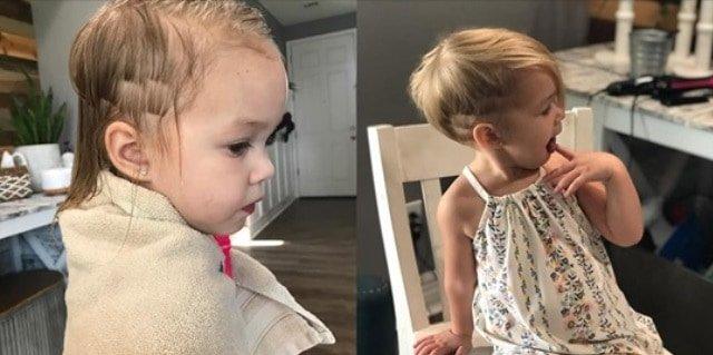 Corte feito pelo menino na foto da esquerda e após ajuda da cabelereira