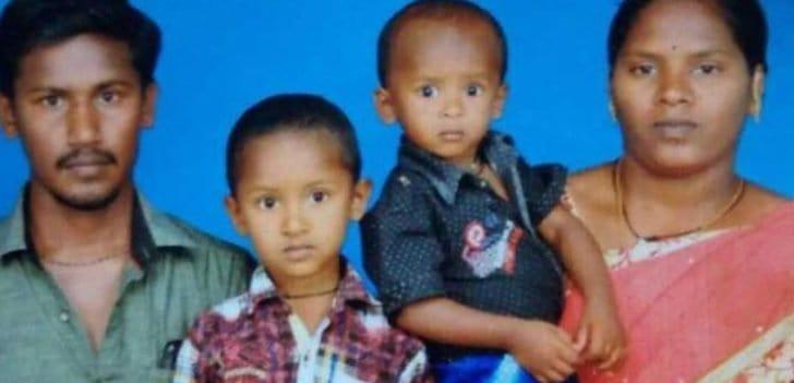 Menino com os pais e o irmão pouco antes do acidente