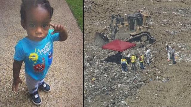 O menino de 18 meses foi encontrado em um aterro sanitário