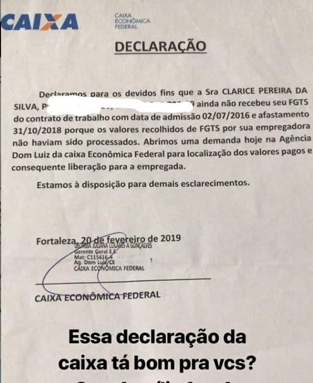 A ex-babá do filho de Mileide Mihaile e do cantor Safadão publicou este documento