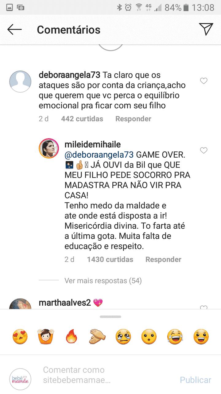 Veja a resposta de Mileide Mihaile para uma internauta