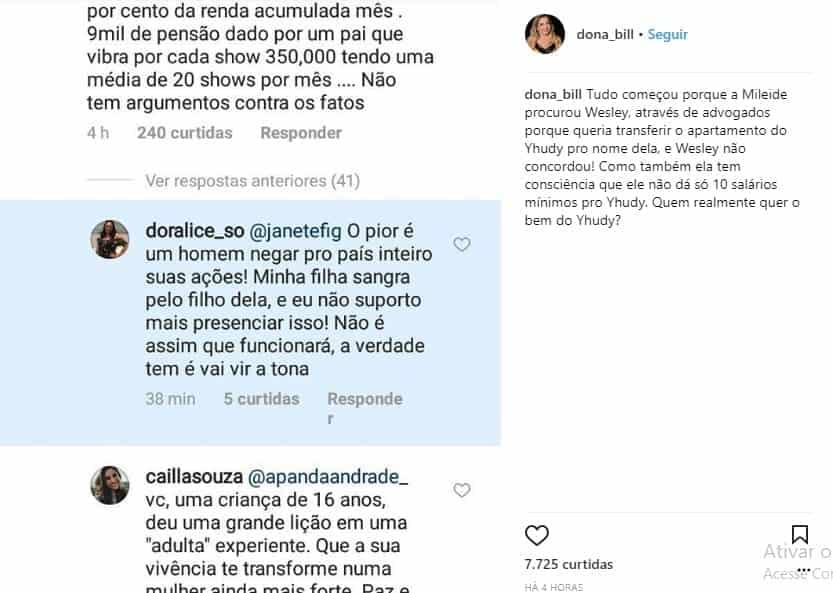 Publicação da resposta da mãe do cantor Safadão
