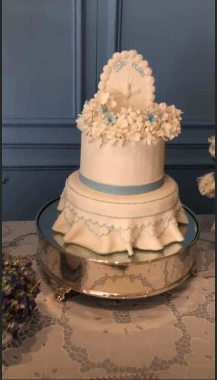 Esse foi o bolo do batizado do pequeno João Pedro