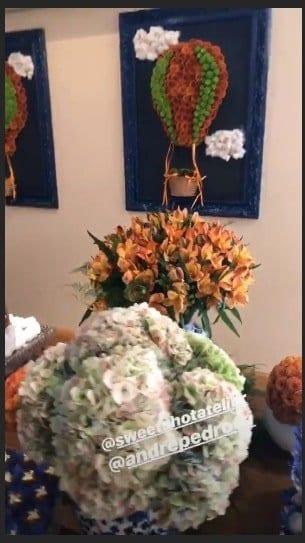 Flores fizeram parte da decoração do segundo chá de bebê de Milena Toscana