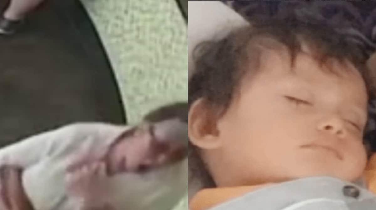 A mulher no momento que tossiu no rosto do bebê de propósito