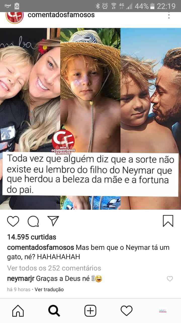 Veja a resposta do Neymar Jr fez para o comentário sobre seu filho
