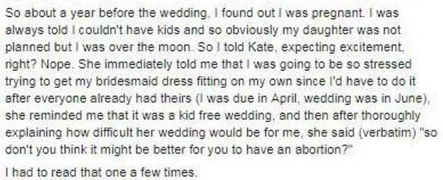 O relato da madrinha sobre o pedido da noiva