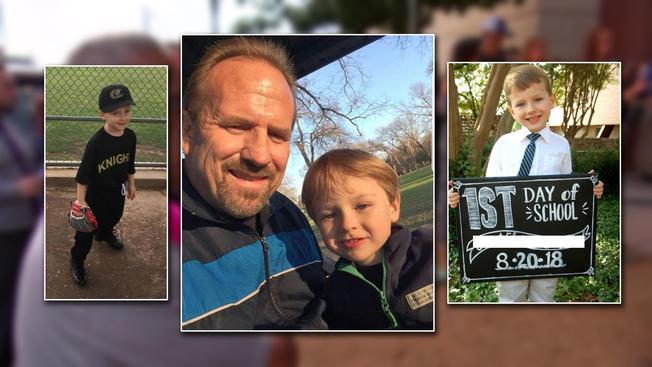 Pai com seu menino de seis anos que desapareceu