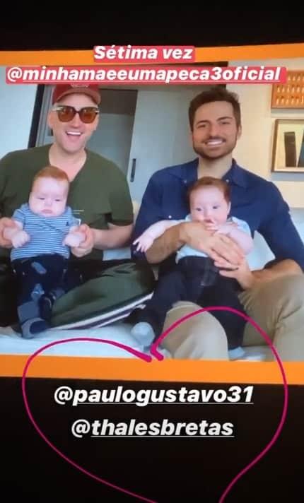 Paulo Gustavo, o marido e os dois filhos