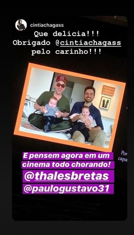 Paulo Gustavo com o marido e os dois filhos