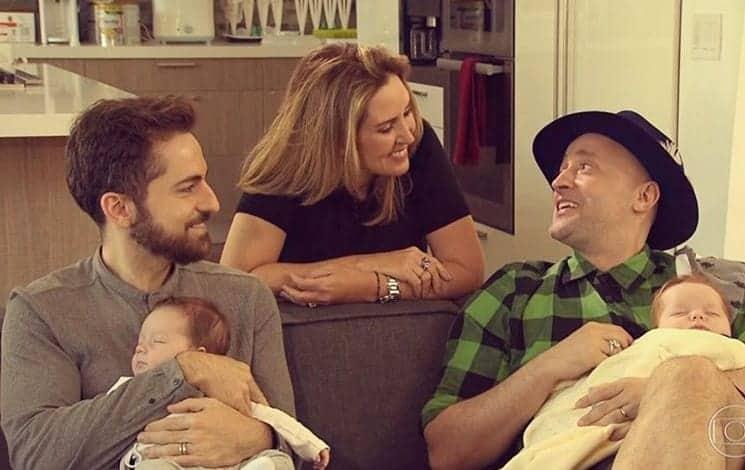 Paulo Gustavo e o marido mostraram os rostos dos filhos