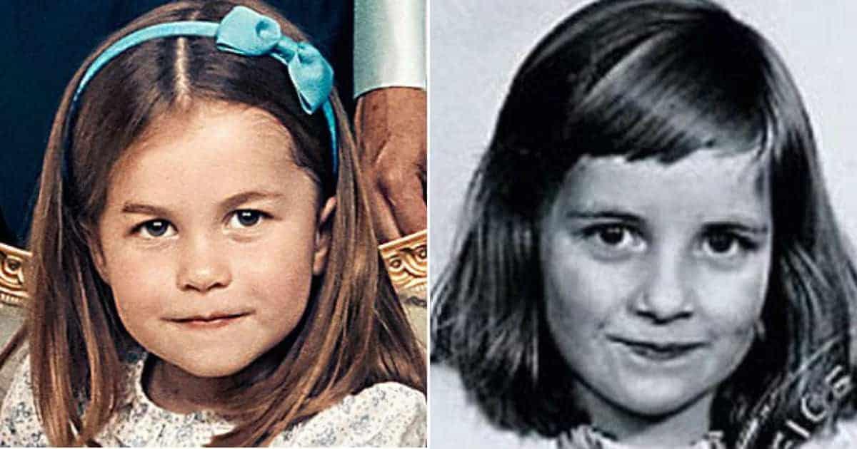 A princesa Charlotte na imagem da esquerda e a princesa Diana na imagem da direita nessa publicação