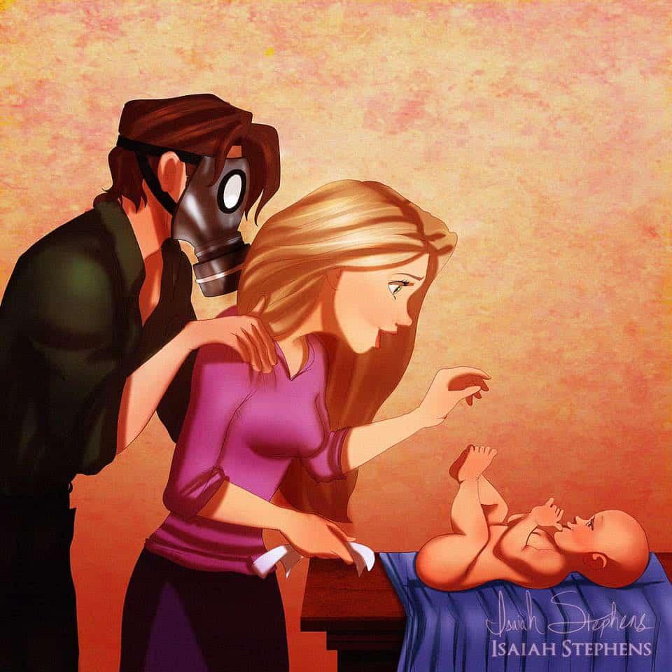Ilustrações encantadoras de princesas da Disney como mães