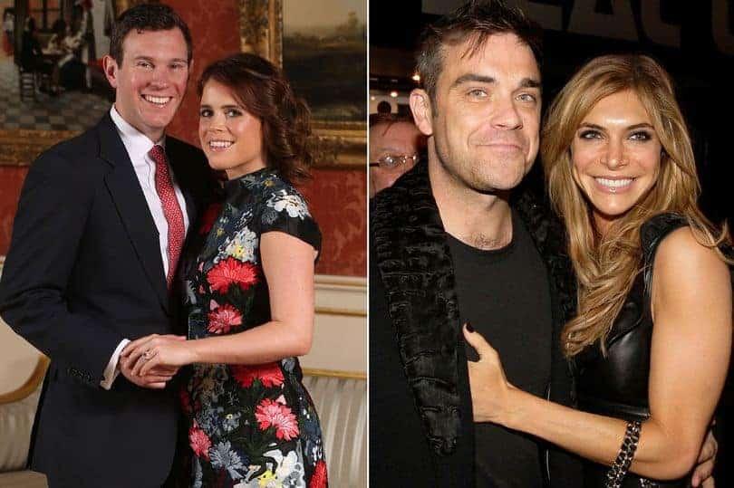 Nessa publicação A princesa Eugenie e seu noivo Jack Brooksbank e o músico Robbie Williams e a esposa Ayda Fields
