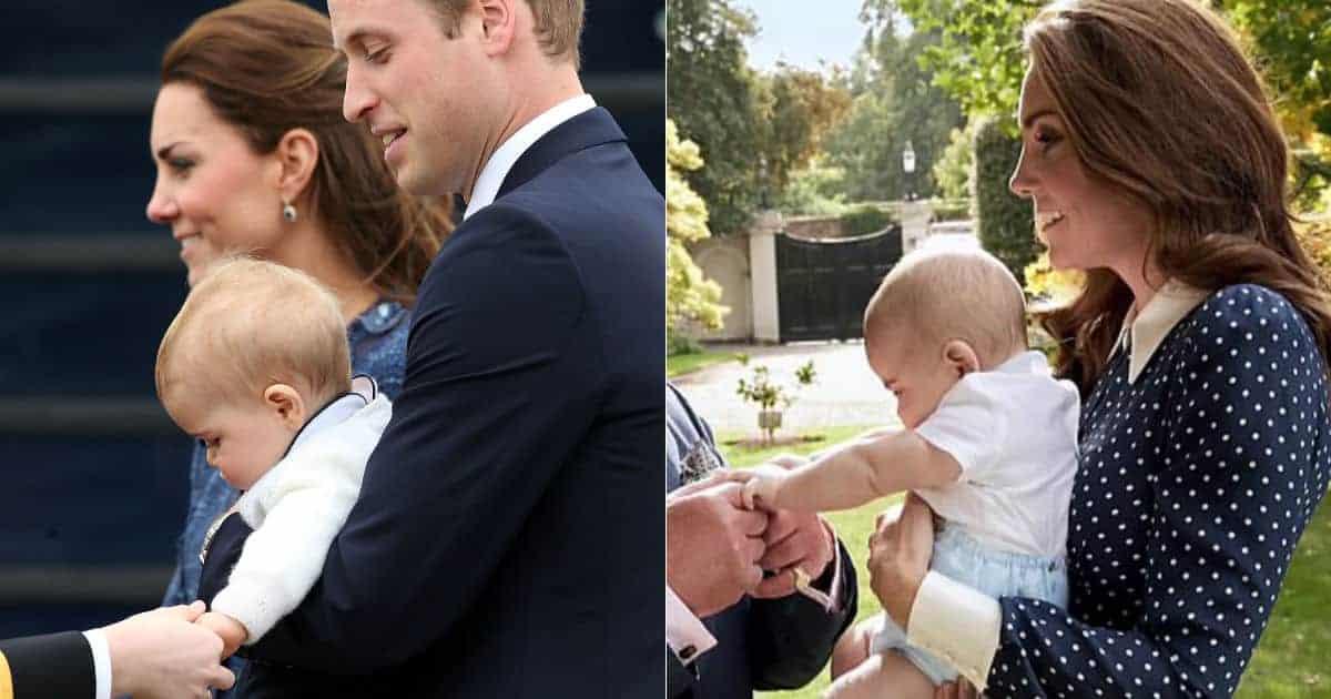 Nessa publicação o príncipe George aos 10 meses na imagem da esquerda e príncipe Louis aos 5 meses na imagem da direita