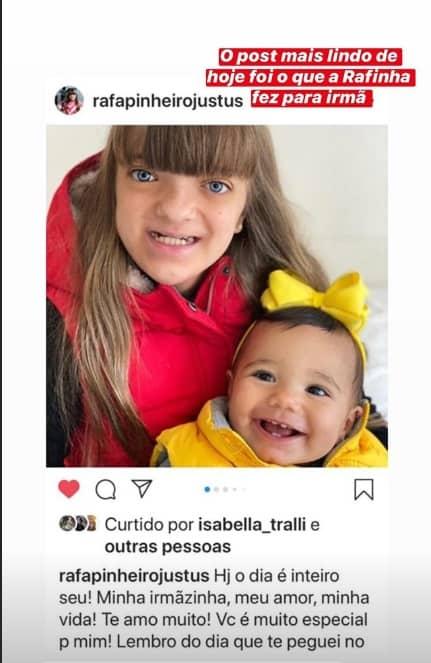 O post que Rafaella Justus fez para sua irmãzinha