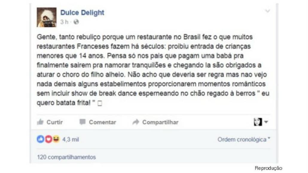 Raiza Costa é favorável a proibir crianças em restaurantes