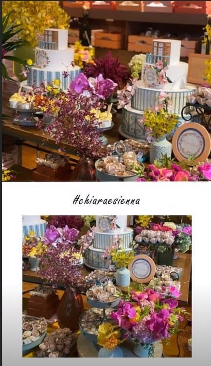 Detalhes da festa de um ano de Chiara e Sienna