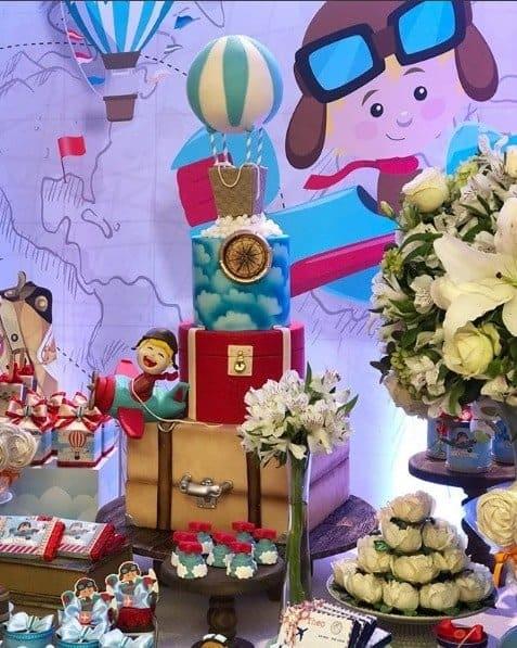 O tema da festa de 2 anos de Theo foi Volta ao Mundo