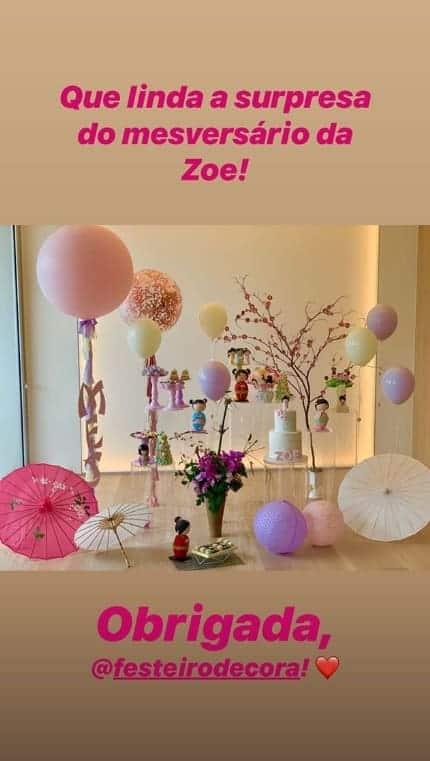 Imagem da decoração da festa da fofa Zoe, filha da Sabrina Sato com Duda Nagle