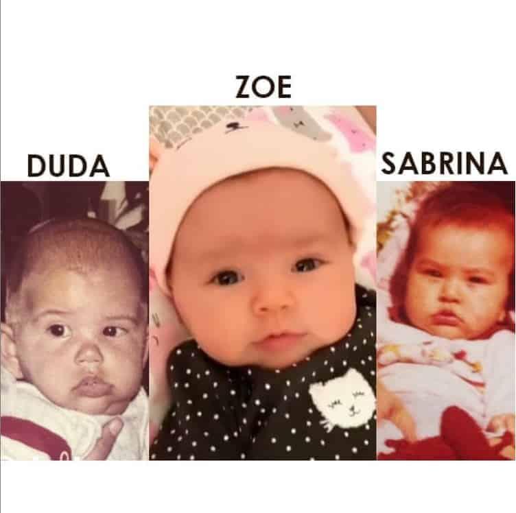 Sabrina Sato publicou essa montagem com foto da bebê Zoe, Duda Nagle e sua