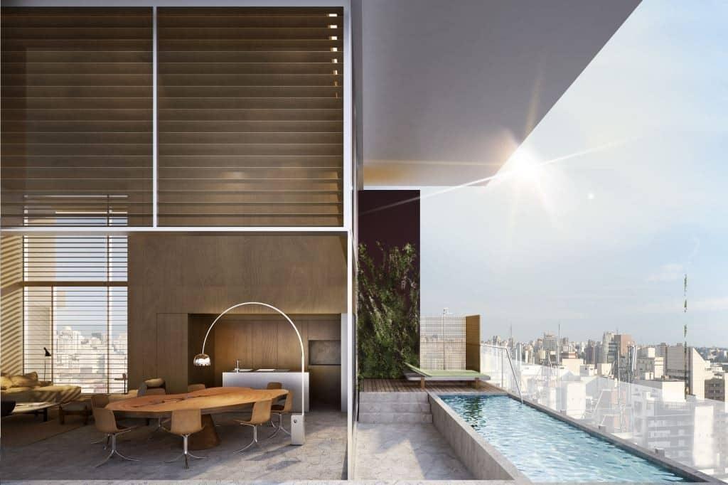 Projeto da área da piscina do apto de Sabrina Sato