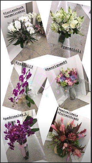 Sabrina Sato ganhou muitas flores dos amigos