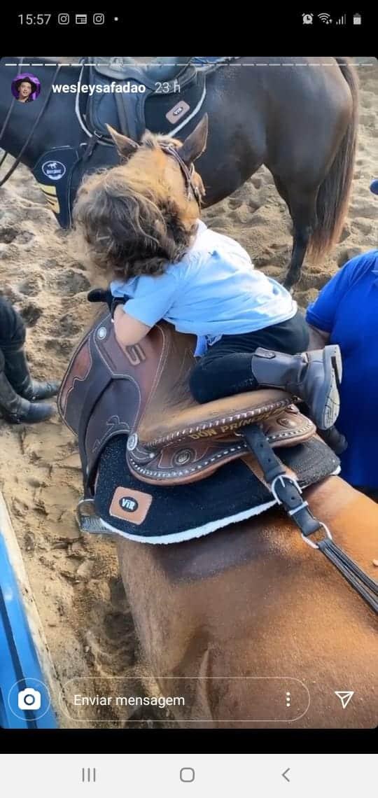 Bebê de Wesley Safadão subindo por conta própria no cavalo