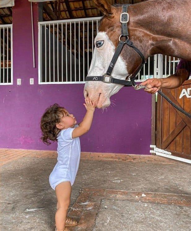 Bebê de Wesley Safadão fazendo carinho no cavalo