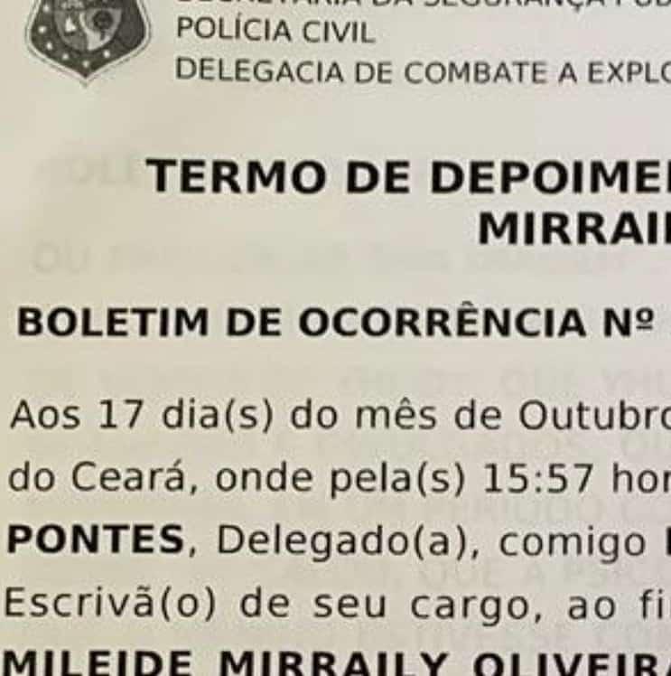 Suposto boletim de ocorrência que Mileide Mihaile fez contra Safadão