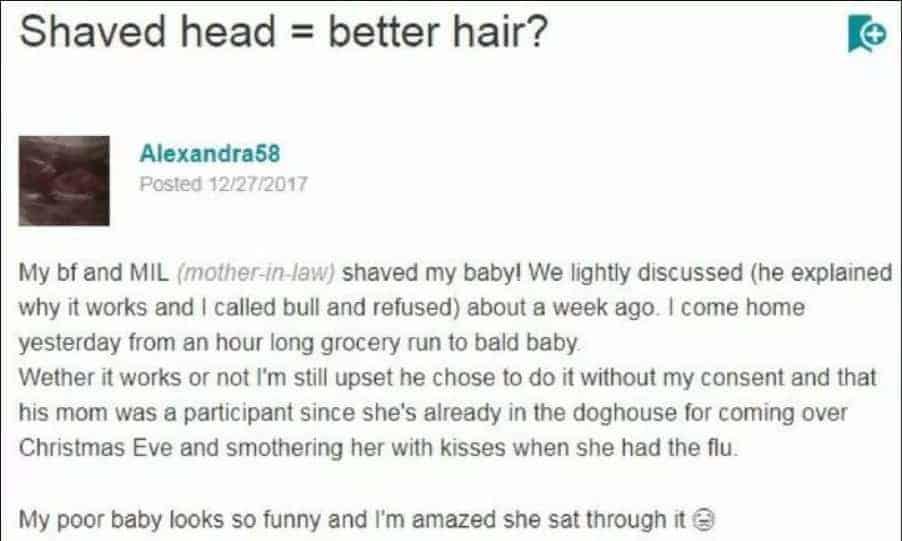 Veja o desabafo da mãe ao encontrar a bebê com a cabeça raspada