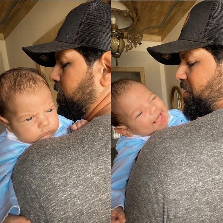 Bebê de Sorocaba gargalhando com seu pai