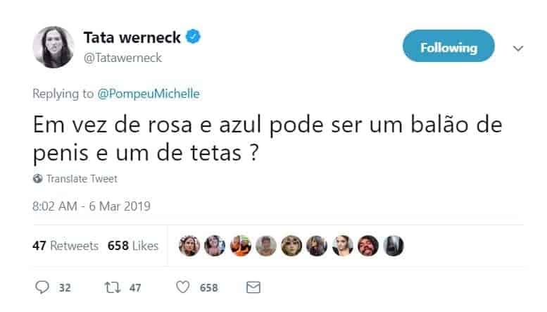 Um dos tweets da futura mamãe Tatá Werneck sobre o chá revelação