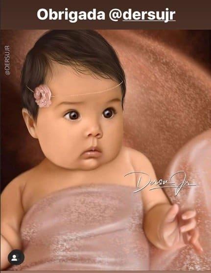 Pintura digital feita da bebê de Tatá Werneck