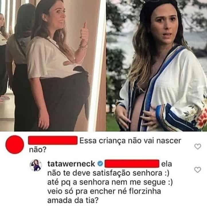 O que Tatá Werneck disse a internauta que questionou sobre sua filha