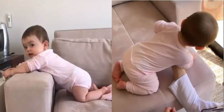 Bebê de Thaeme realizando a fisioterapia