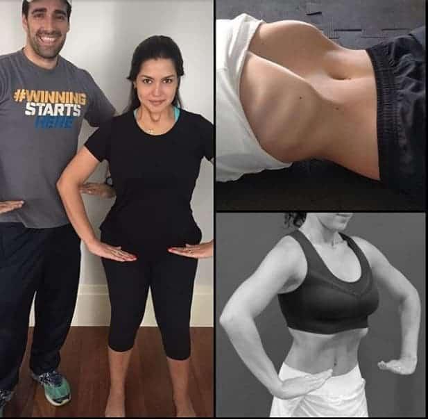 A mamãe Thaís Fersoza realizando os exercícios hipopressivo e as imagens de duas outras mulheres fazendo o mesmo exercício. No final de 2016 ela fez este post para falar de seu tratamento não cirúrgico para a diástase