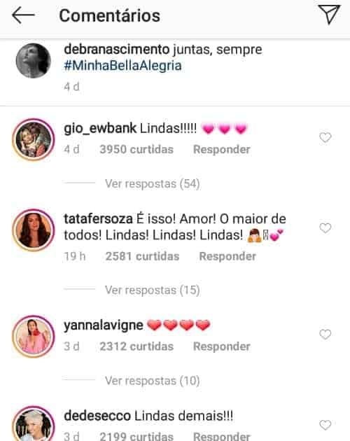 Veja o que Thais Fersoza comentou na foto de Débora Nascimento